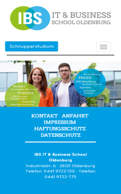 IBS Oldenburg - Die International Business School Oldenburg präsentiert sich neuen responsive Design mit TYPO3 und zeigt alle aktuellen Studiengänge