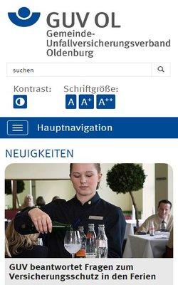Barrierefreiheit nach BITV mit Sharpness:  GUV Oldenburg - Der Gemeinde-Unfallversicherungsverband Oldenburg