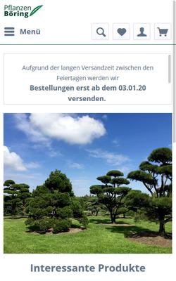 Pflanzen Böring - neuer Online-Shop mit ShopWare - zum Online-Shop